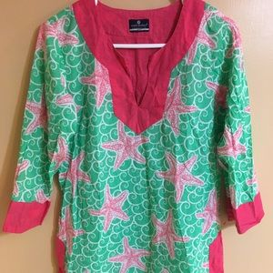 SIMPLY SOUTHERN BEACH STARFISH COVER UP TUNIC L